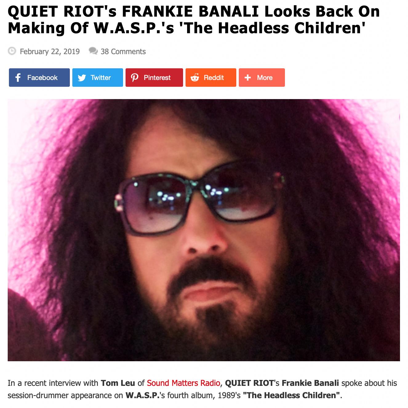 Frankie Banali Interview on Blabbermouth
