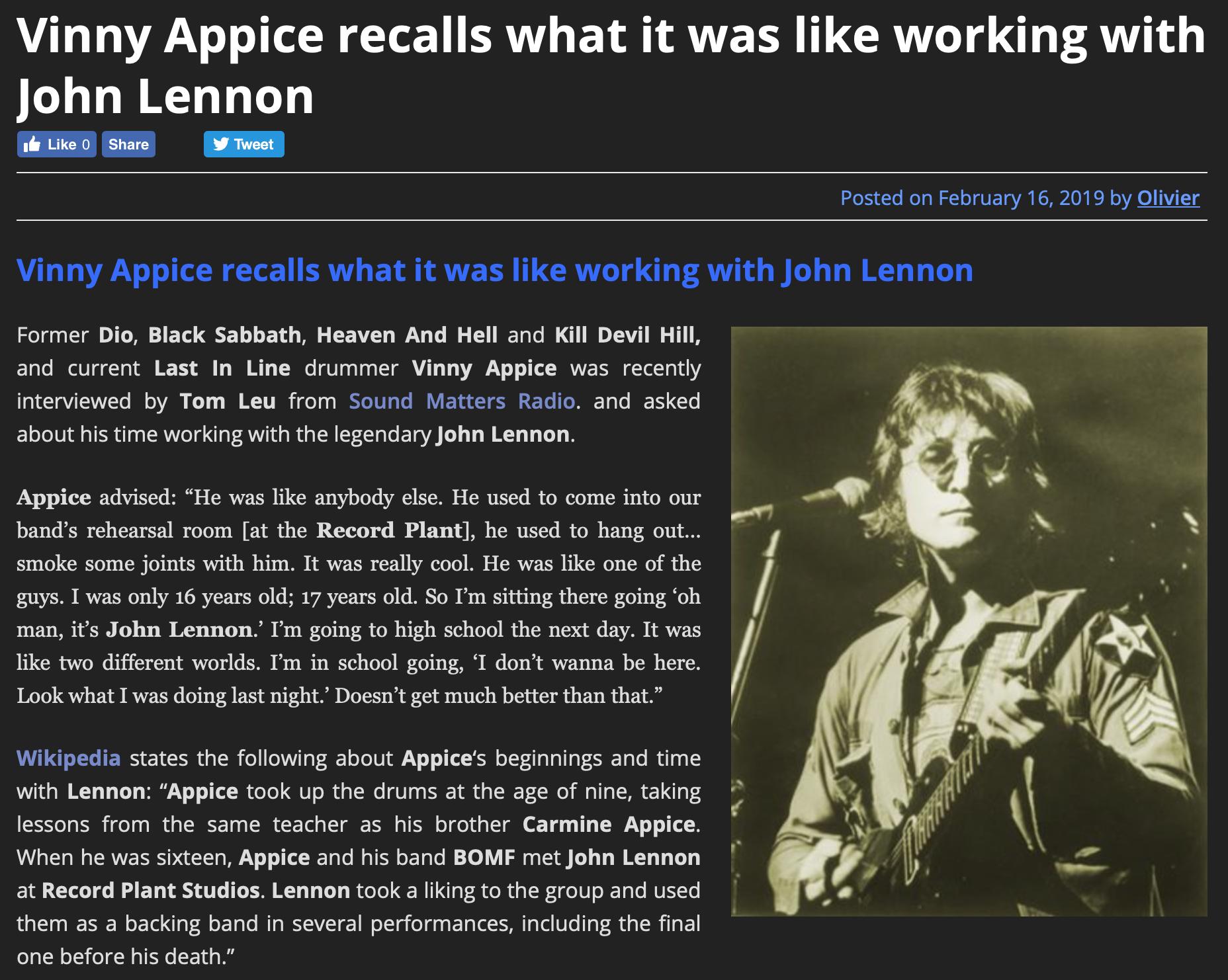 Vinny Appice Interview on Sleaze Roxx